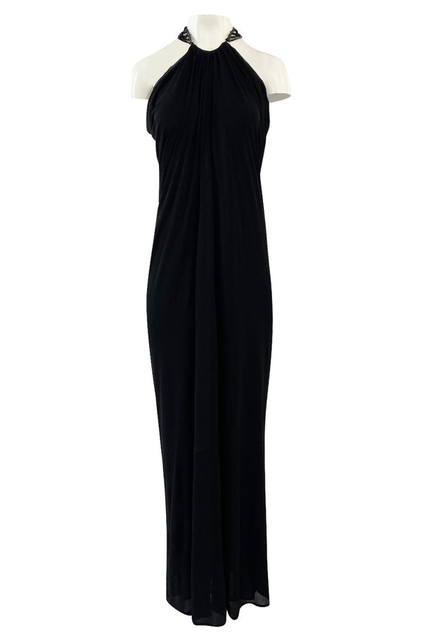 Fall 2005 Alexander McQueen Black Draped Silk Jersey Crepe Dress w Beaded Collar