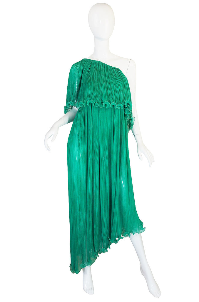 1970s Alfred Bosand Green Goddess Dress