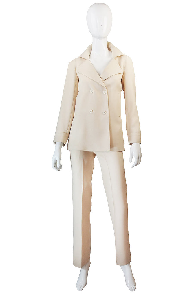 1970s Chic Cream Courreges Pant & Jacket Suit