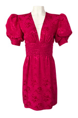 1980s Wayne Clark Pink Silk Plunging Neckline & Huge Pouf Sleeve Dress