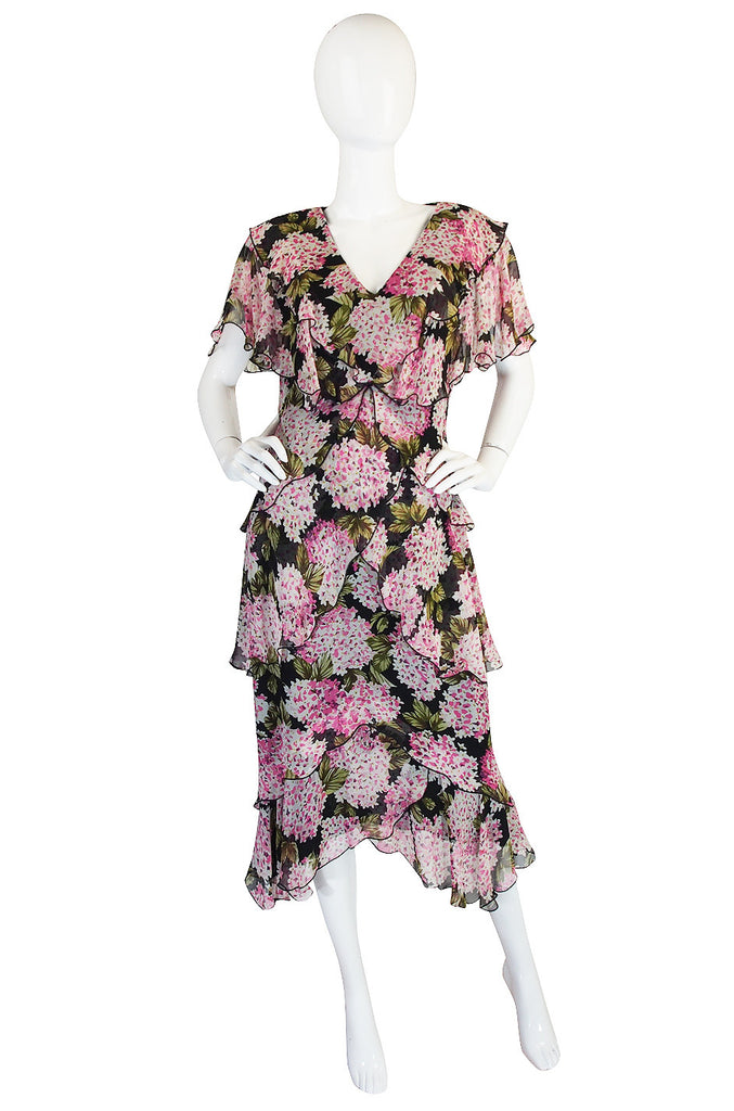 1970s Pink Floral Holly Harp Tiered Silk Dress