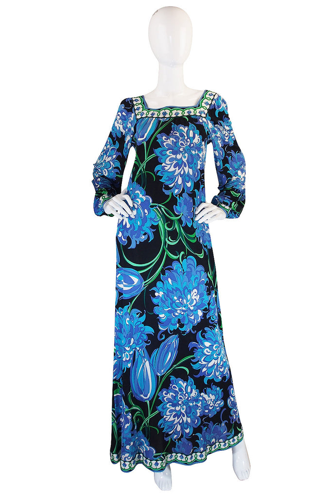1970s Blue Print Silk Jersey Pucci Caftan Dress