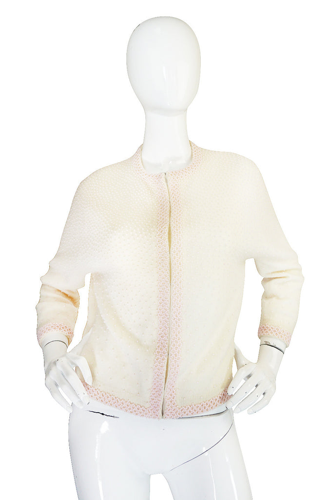 1950s Pink Beaded Cream Cashmere Sweater