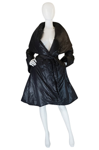 1980s OMO Norma Kamali Black Sleeping Bag Coat with Hood