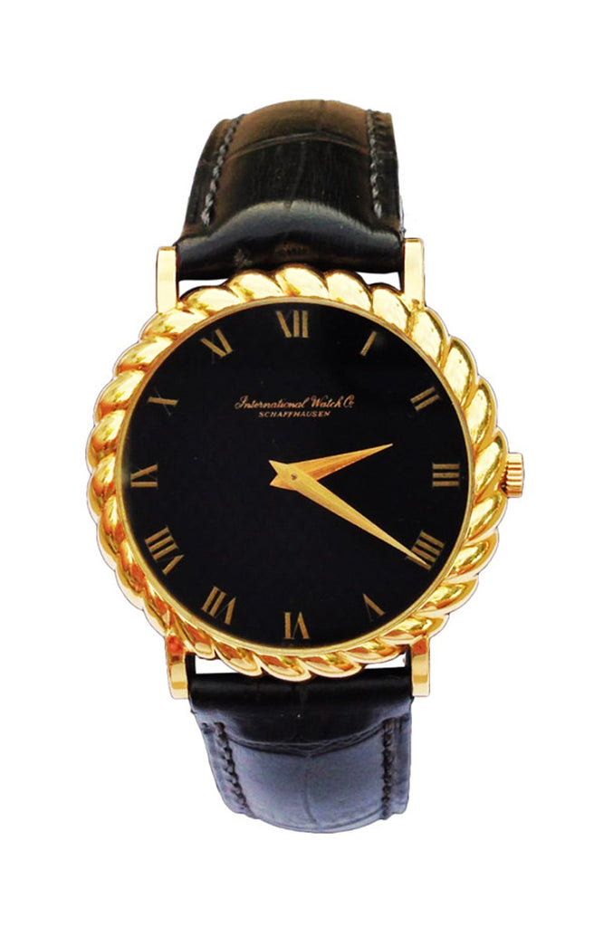 1950s IWC Yellow Gold Wristwatch with Sculpted Bezel