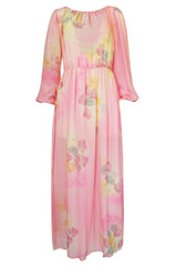 1970s Unlabelled Soft Pink & Pastels Floral Print Silk Chiffon Dress