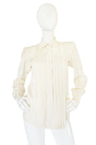 c.1979 Haute Couture Cream Silk Yves Saint Laurent Top