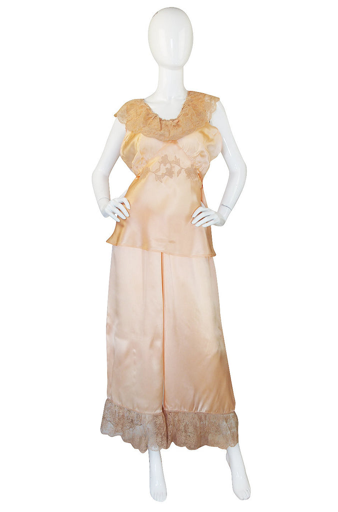 1940s Two Piece Peach Silk Lingerie Set