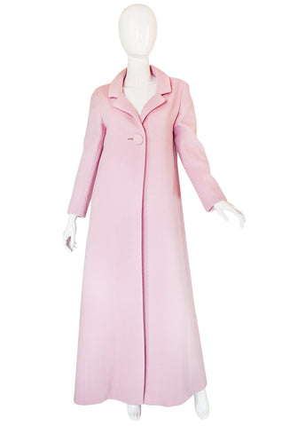 1960s Early Anne Klein Supermodel Length Pink Wool Coat