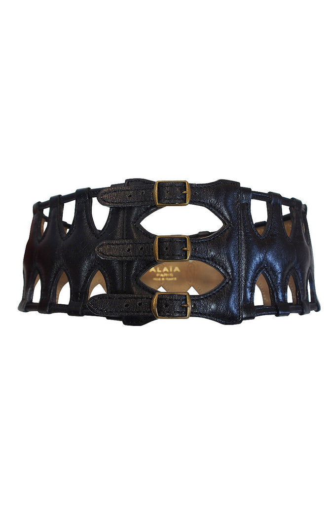 1980s Alaia Leather Cut Out Belt 65