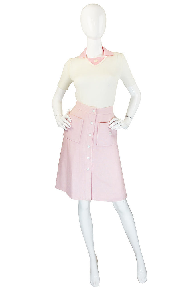 1960s Numbered Courreges Pink Skirt & Sweater Set
