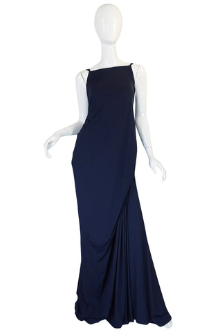 "S/S 2008 Yves Saint Laurent Minimalist Navy ""Bustle"" Dress"