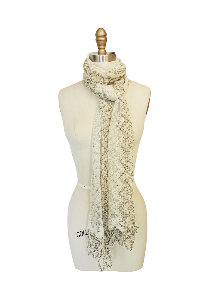 "1920s ""Cobweb"" Cream Lace & Gold Thread Scarf"