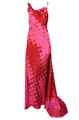 Spring 2003 Christian LaCroix Raspberry Pink & Red Silk Trained Dress