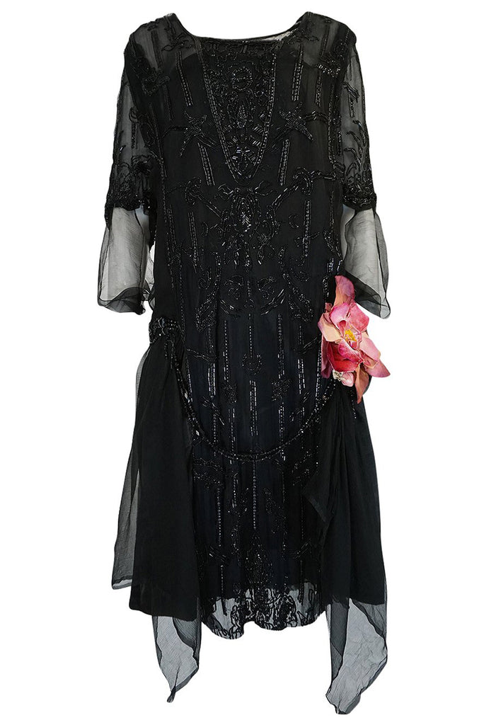 Teens or Early 1920s Unlabeled Sequin & Bead on Silk Chiffon Dress