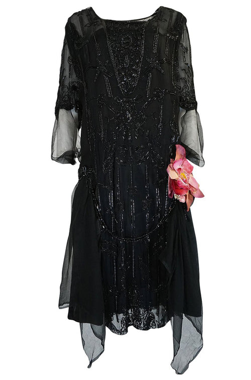 Super Sale! Teens or Early 1920s Unlabeled Sequin & Bead on Silk Chiffon Dress