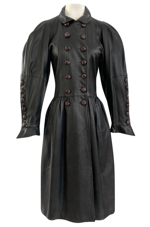 Important Fall 1982 Yves Saint Laurent Runway Leather Coat w Huge Sleeves & Buttons