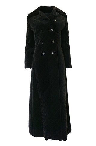 1960s Unlabeled Inky Black Velvet Crossed Stitched Quilted Great Coat
