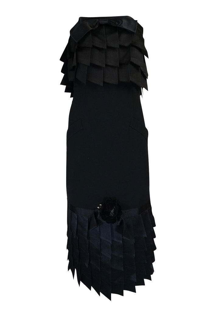 s/s 1987 Chanel Fitted Strapless Dress w Layered Silk Ribbon Detail