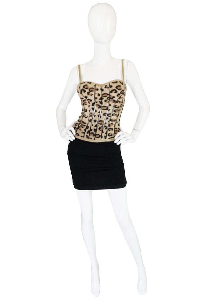Iconic Fall 1991 Museum Held Alaia Leopard Corset Top