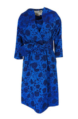 Rare 1950s Lanvin Castillo Demi-Couture Blue Silk Dress & Jacket