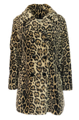 Fabulous 1950s H.B. Burnett Faux Fur Leopard Swing Car Coat