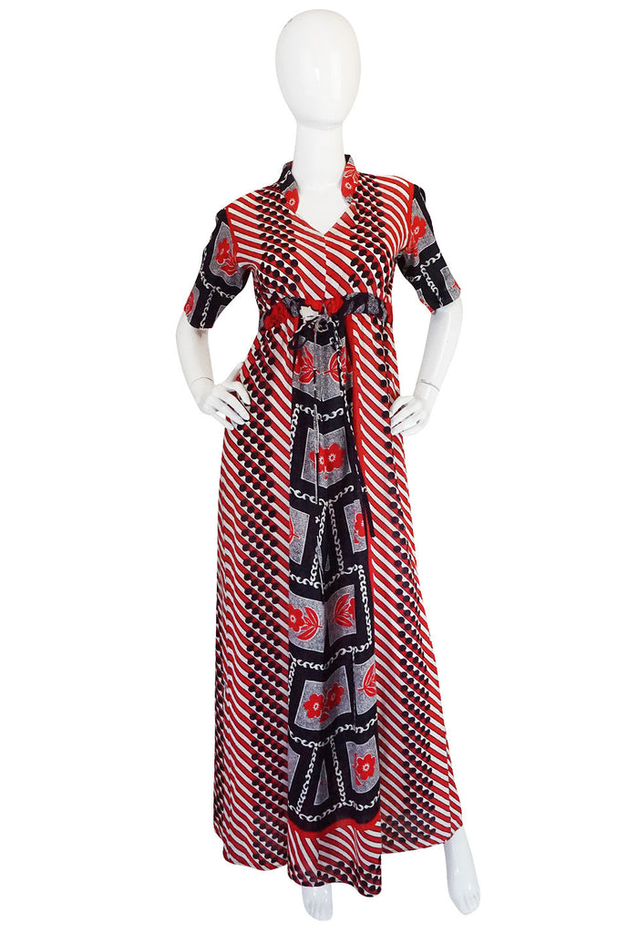1960s Dramatic Cotton Print Red Maxi Dress