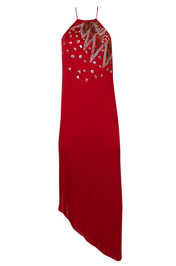 1970s Stephen Burrows Red Jersey Hand Beaded & Sequin Jersey Dress