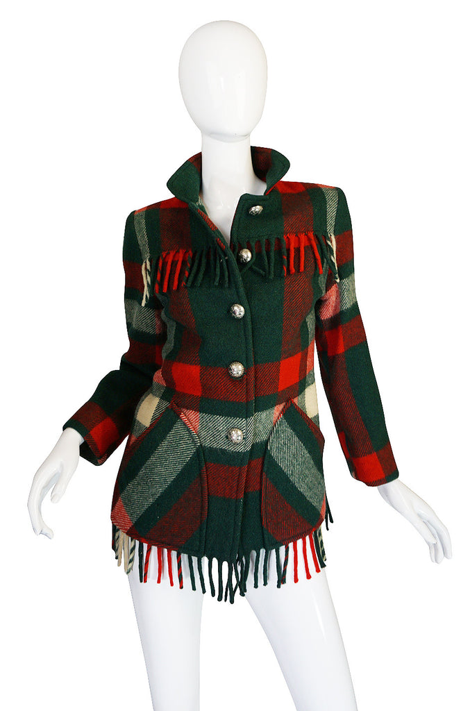 Now On Sale - Original 1940s Western Fringe Plaid Jacket