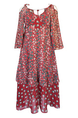 c.1969 Ossie Clark Dress w Iconic Celia Birtwell 'Pineapple' Print - 25% OFF TAKEN AT CHECKOUT