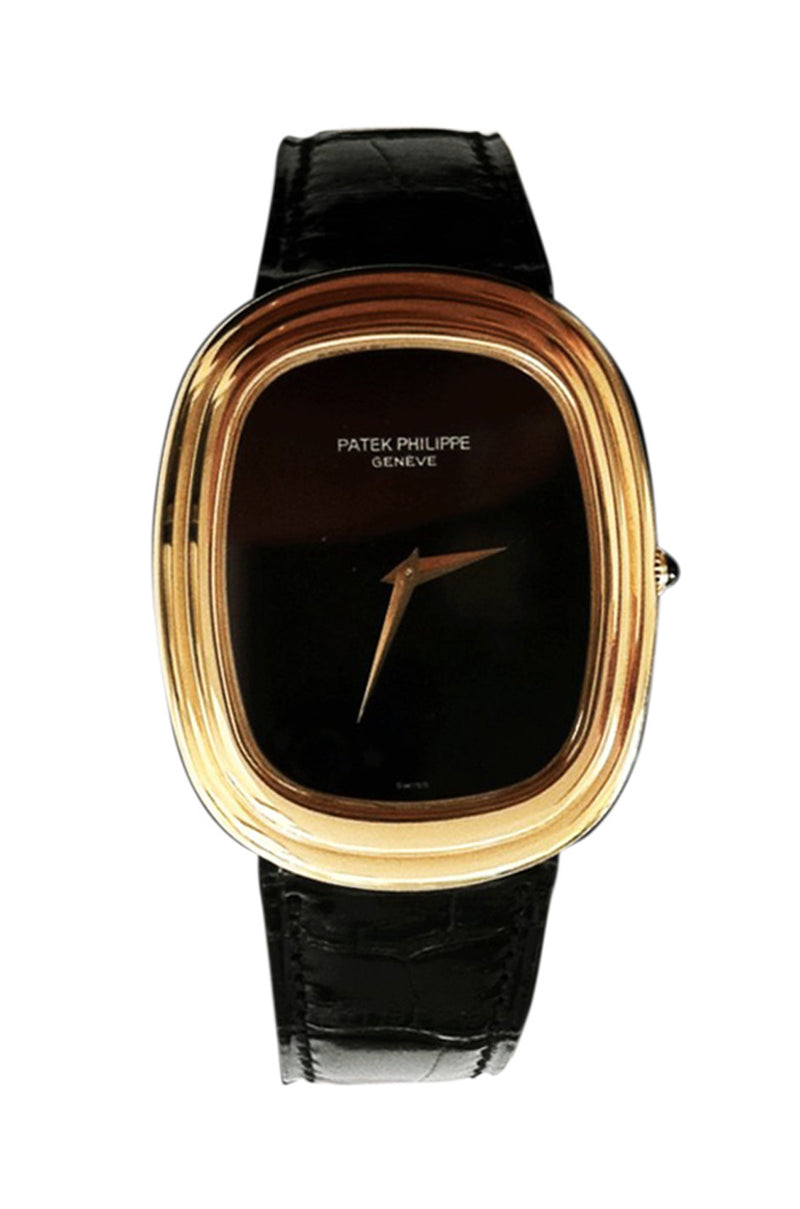 1970s Patek Philippe Yellow Gold Ellipse with Onyx Dial