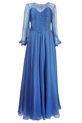 c.1986-1989 Valentino Haute Couture Beautiful Blue Silk Chiffon Dress