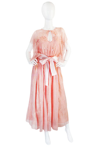 1972-73 Zandra Rhodes Seashell Silk Chiffon Dress