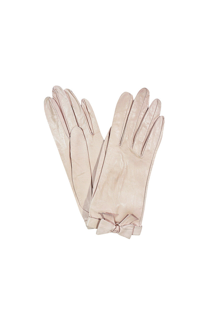 1980s Pretty Pale Pink Chanel Gloves With Bows Sz 7.5