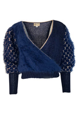 1970s Cropped Blue Mohair, Wool & Gold Metallic Plunge Sweater