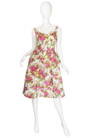 1950s Printed Floral Silky Rayon Emma Domb Dress