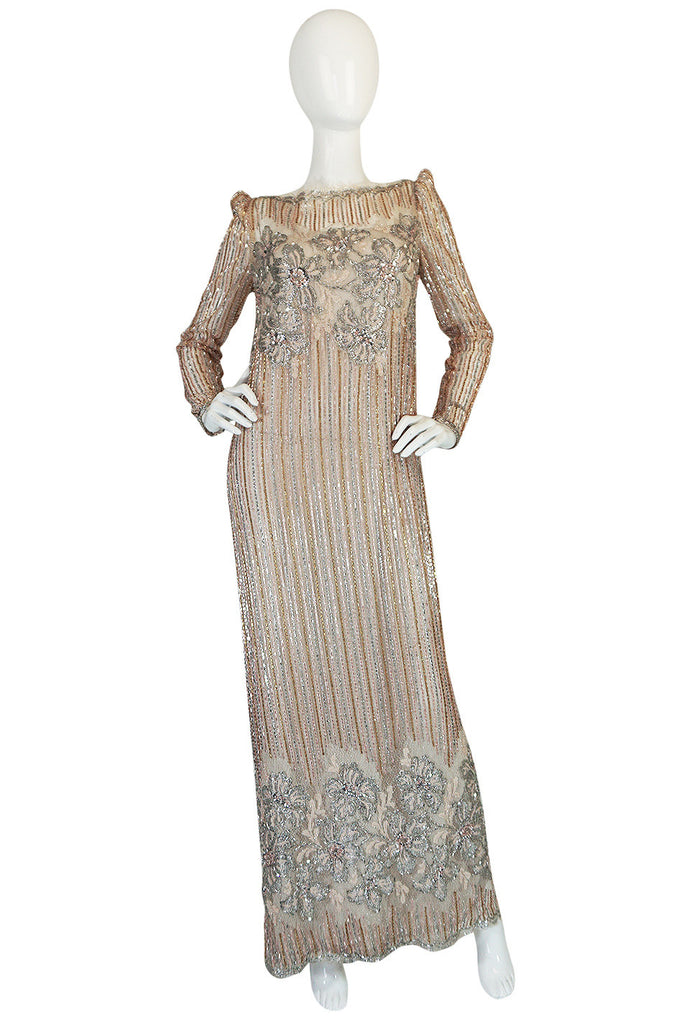 1980s Fernando Pena Gold & Pink Bead Sequin & Net Dress