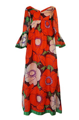 1970s Mollie Parnis Huge Floral Print Silk Organza Dress