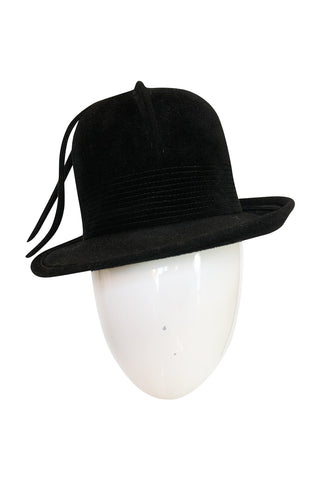 1970s Yves Saint Laurent Black Felt High Bowler Hat