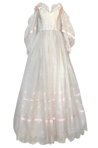 1980s Emanuel Custom Fairy Tale Embroidered & Ribboned Silk Organza Dress