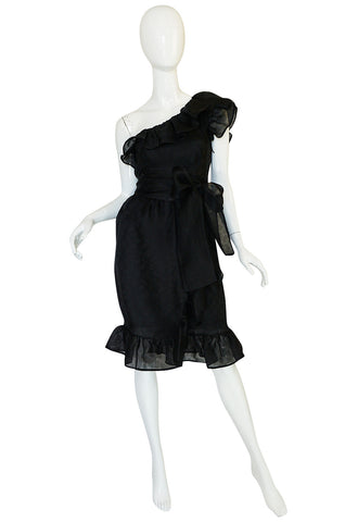 1970s Givenchy One Shoulder Black Silk Cocktail Dress