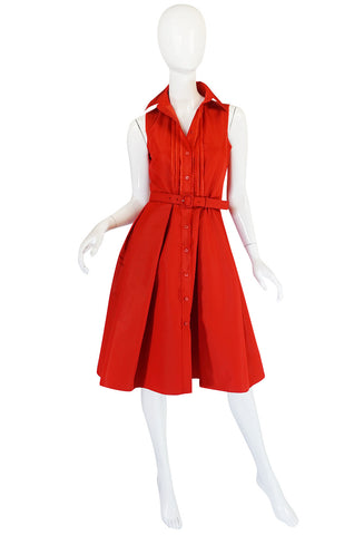 2000s Chic Prada Red Taffeta Button Front Day Dress
