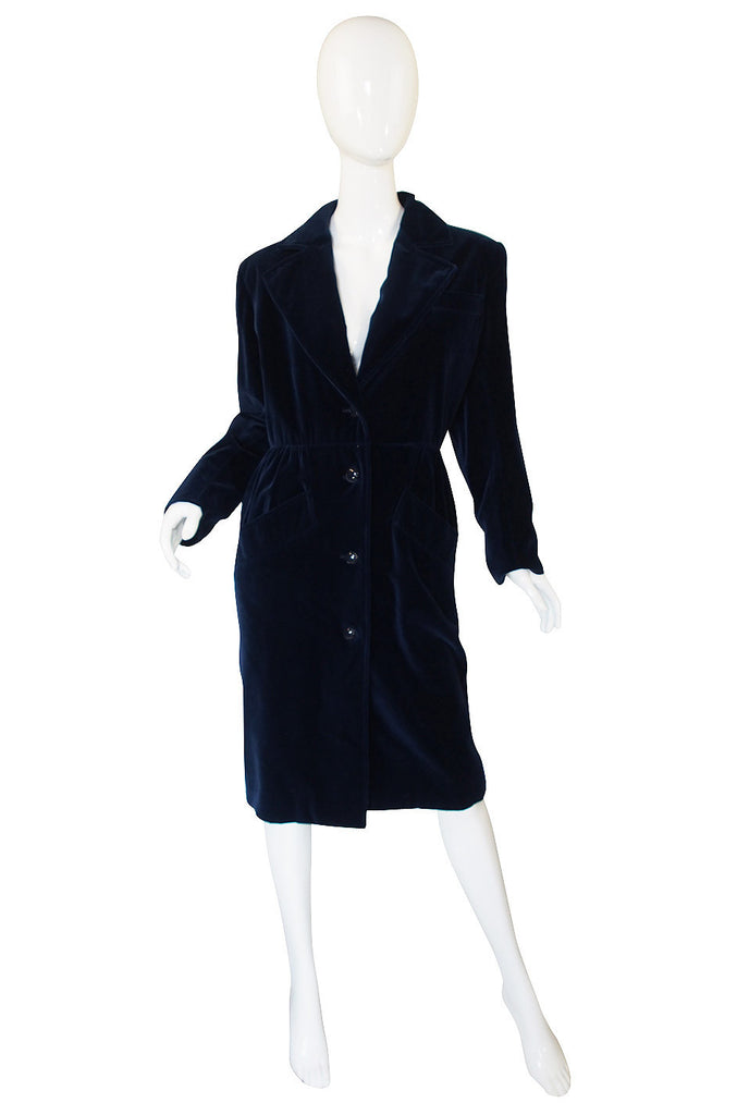 1970s Yves Saint Laurent Blue Velvet Coat
