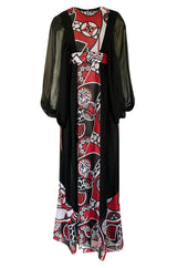 Documented Rare 1969 Thea Porter Black & Red Print Silk Chiffon Dress