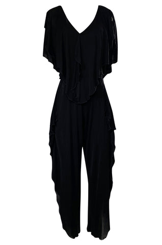 1970s Holly's Harp Black Jersey Ruffled Edge Pant & V Front Top Set