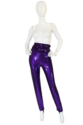Insane 1980s Escada Purple Sequin Stirrup Pants & Sash