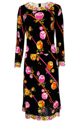1960s Emilio Pucci Prettiest Pink Floral Print & Black Silk Jersey Dress