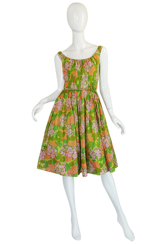 1950s Hannah Troy Pretty Floral Cotton Voile Print Dress