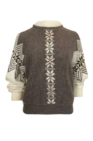1980s Givenchy Shetland Wool Numbered Sweater w Bead & Sequin Detailing