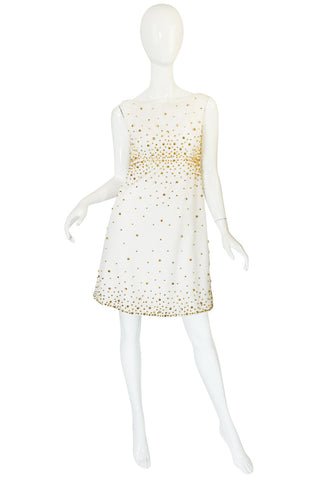 1960s Gold Studded White Cotton Waffle Weave Pique Dress